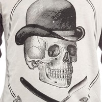 BLACK MARKET BARBER SKULL BASEBALL T SHIRT