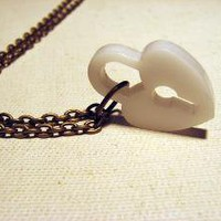 Be Mine White Heart Necklace by sodalex on Etsy
