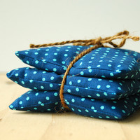 Organic Lavender Sachets Navy Polka Dots Botanical Gift Set Natural Aromatherapy Botanical Handmade by Minor Thread