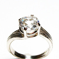 "White topaz ring, topaz solitaire ring, engagement ring, white, s 6 1/2 ""White Ice"""