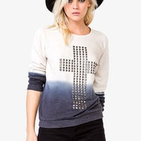 Ombré Studded Cross Sweatshirt