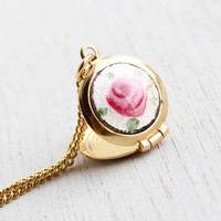 Vintage Flower Locket Necklace - 1960s Gold Tone Pink Guilloche Rose Enamel Costume Jewelry / Deadstock Original Box