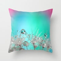 Rise Above it All - rainbow dandelion macro with droplets Throw Pillow by micklyn