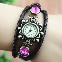 MagicPiece Handmade Vintage Style Leather Watch For Women Flower Shape Watch with Leather Belt and Rhinestone in 3 Colors-Hot Pink