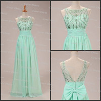Cheap Custom Made Beading Halter Chiffon Floor-Length Prom Dress, Bridesmaid Dress, Cheap Evening Dress, Formal Dress