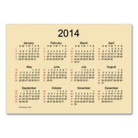 52 Week Calendar 2014 Business Cards