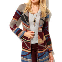 Tribal Knit Hooded Duster