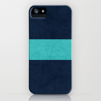 classic - navy and aqua iPhone & iPod Case by her art