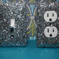 SET Chunky SILVER Glitter Switch Plate Outlet Covers ANY Styles