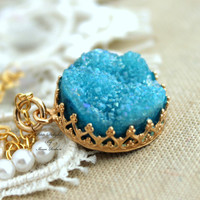 Blue Druzy Necklace aqua,gift for woman, druzy jewelry - 14k gold filled necklace with real gemstone.