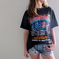 "America Harley Davidson High Low Shirt Hi Lo Cropped Womens Tee ""Nobody Does It Better"" Motorcycle Biker"