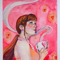 Hot Chocolate: art nouveau hot cocoa watercolor print with chocolate c