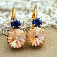 Peach Champagne Blue Sapphire Rhinestone swarovski Crystal,christmas gift,bridesmaids jewelry leverback earrings - 14k Gold plated .