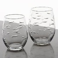 Etched Fish Stemless Wine Tumblers