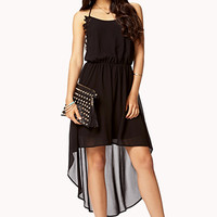 Crochet Lace-Trimmed High-Low Dress