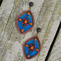 Colorburst Tribal Teardrop Earrings Coral & Blue