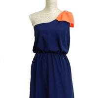 Game Changer One Shoulder Bow Dress - Navy + Orange - $36.00 | Daily Chic Dresses | International Shipping