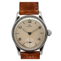 Omega Stainless Steel WWII-Era Military-Type Wristwatch