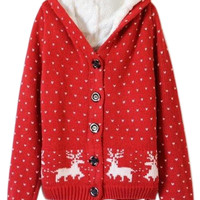 ROMWE | ROMWE Deer&Heart Knitted Hooded Long Sleeves Red Cardigan, The Latest Street Fashion