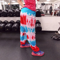 Red White and Blue Hand-Dyed Sweatpants / Workout Pants / Women's Workout Clothing