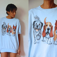 Vtg Light Blue Dogs Print SS Cotton Knit Waist Shirt