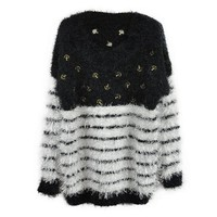 ZLYC Women's Mohair Fluffy Striped Gold Anchor Personalized Sweater