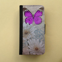 Gift for women - Purple Butterfly Samsung Galaxy S3 S4 wallet case, iPhone 4/5 wallet, book style, Samsung iPhone 5 - Shabby chic