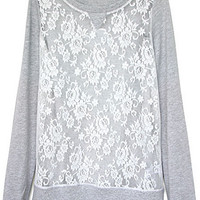 ROMWE | Panel Lace Crochet Grey Sweatshirt, The Latest Street Fashion