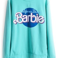 ROMWE | Barbie Print Green Sweatshirt, The Latest Street Fashion