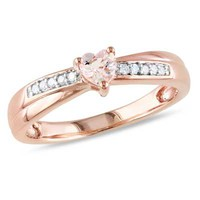 4.0mm Heart-Shaped Morganite and Diamond Accent Promise Ring in Rose Rhodium Plated Sterling Silver