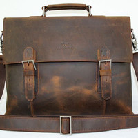 15'' Genuine Leather Briefcase/ Messenger Bag/ Laptop Bag/ Macbook Bag/ Shoulder Bag/ Men's Bag/ Crossbody Bag in Vintage Dark Brown