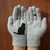 Cat & Bird Gloves, Grey Gloves, Unisex Gloves, Animal, Christmas