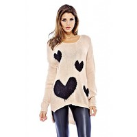 AX Paris Women's Knitted Multi Heart Pink Sweater - Online Exclusive