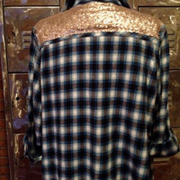 Mystery Flannel Sequined Vtg 90s GRUNGE Slouchy PLAID Oversized SHIRT Boyfriend Top Mini Dress One Size