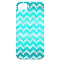 Turquoise and White Chevron pattern iPhone 5/5S Covers