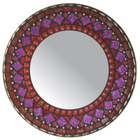 Mosaic Mirror - Red & Purple