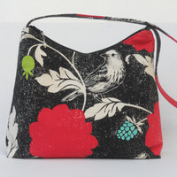 Medium Zipper Top Purse / Hobo Bag / Handbag / Echino Decoro / Dahlia / Etsuko Furuya / Ready to Ship