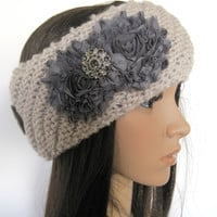 Taupe Tan Knit Ear Warmer Headband Head Wrap with Grey Chiffon Flowers and a Smokey Grey Accent