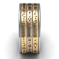 14k three tone white, yellow and rose gold three row Da Vinci cryptex, codex, decoder ring LB-2025-8.