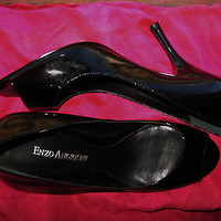 ENZO ANGIOLINI SHOE OPEN TOE BLACK LACQUER LEATHER HIGH HEELS SIZE 6.5 M/37
