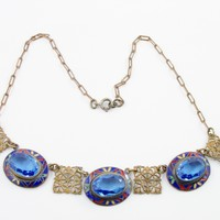 Art Deco Necklace Czech Enamel Necklace Blue Glass