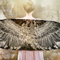 Women scarf, black cotton, Hand painted Wings, stunning unique and useful, perfect gift