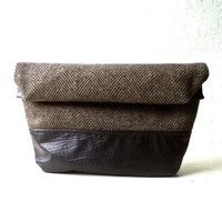 Toiletry bag, roll-up men bag,shaving bag, groomsmens gift, 2 ways pouch,Black Faux leather and wool 100%, black and brown herringbone