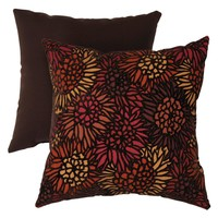 Flocked Floral 16.5 x 16.5 Brown / Orange Decorative Pillow | www.hayneedle.com