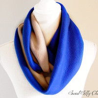 Ravenclaw Inspired Fleece Infinity Scarf, Harry Potter Hogwarts House Scarf, Blue and Bronze Fleece Scarf