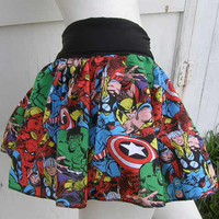 Captain America Thor Hulk retro Comic Book Skirt shirt S-1XL DiY Marvel Avengers
