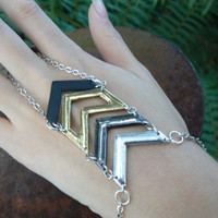 chevron slave bracelet chevron geometric mixed metals belly dancer boho hipster and gypsy style