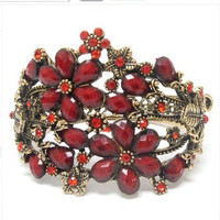 Maroon crystal multi flower open bangle vintage bracelet