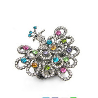Multi colored crystal peacock stretch ring