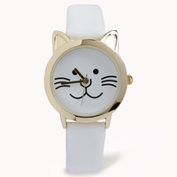 Faux Leather Cat Watch
